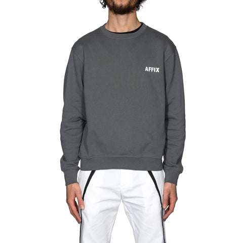 AFFIX Chest Embroidery Crewneck Utility Gray/White, Sweaters