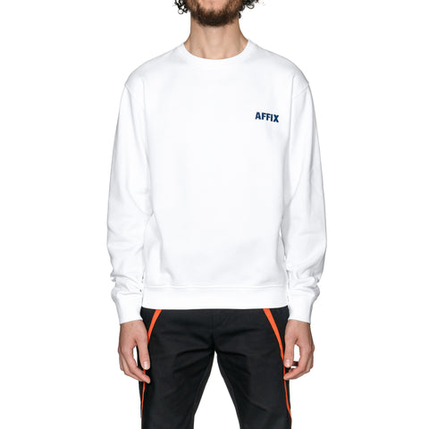 AFFIX Chest Embroidery Crewneck White/Navy, Sweaters