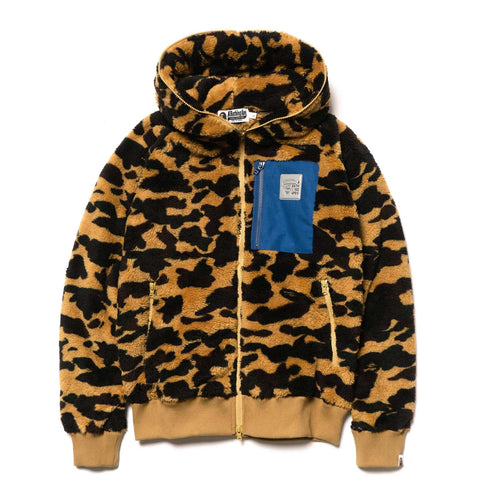 A BATHING APE 1st Camo Boa Wide Full Zip Hoodie Yellow, Sweaters