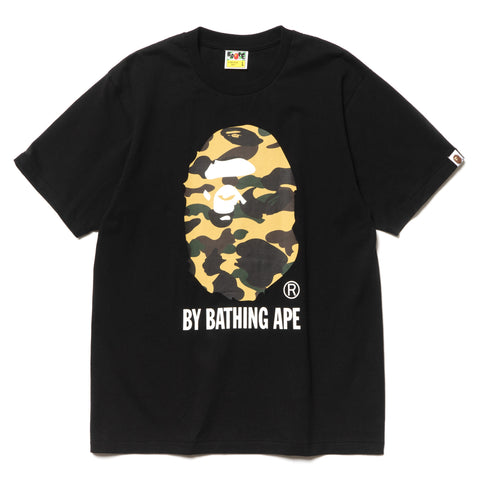 A BATHING APE 1st Camo By Bathing Tee Black x Yellow, T-Shirts