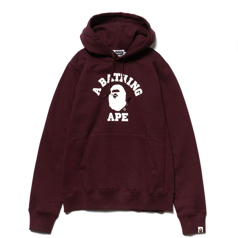 A BATHING APE College Heavy Weight Pullover Hoodie Burgundy, Sweaters