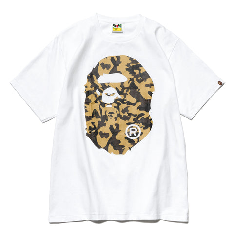A BATHING APE Desert Camo Big Ape Head Tee White x Yellow, T-Shirts