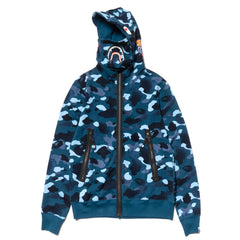 A Bathing Ape Gradation Camo Shark Mask Wide Zip Hoodie Blue, Sweaters