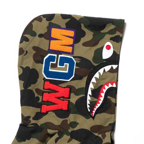 a bathing ape BAPE 1st Camo Shark Hoodie Jacket green