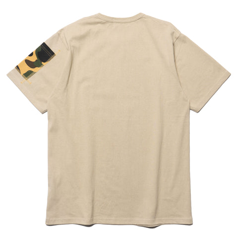 a bathing ape 1st Camo Sleeve Pocket Tee Beige