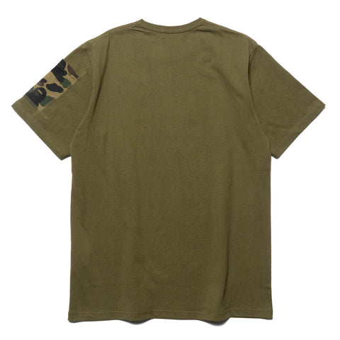 a bathing ape 1st Camo Sleeve Pocket Tee olive drab