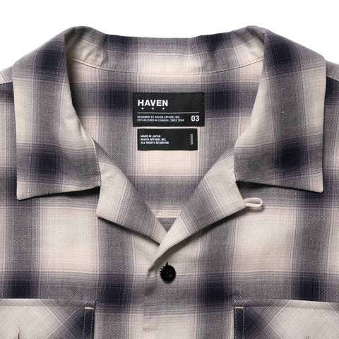HAVEN Camp Shirt - Cotton Ombre  White x Black, Shirts