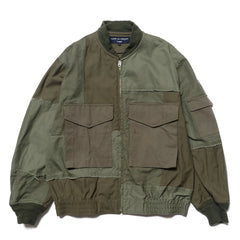 Cotton Herringbone x Multi Fabric Garment Treated Mix Jacket Khaki