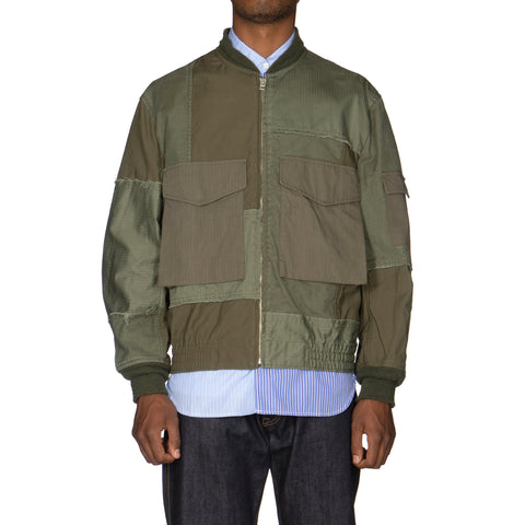 Comme Des Garcons Homme Cotton Herringbone x Multi Fabric Garment Treated Mix Jacket Khaki, Outerwear