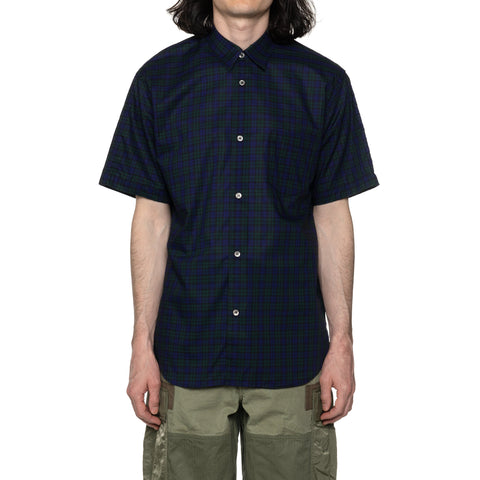Comme des Garcons HOMME Cotton Check x  Cotton Nylon Rip SS Shirt Navy/Green, Shirts