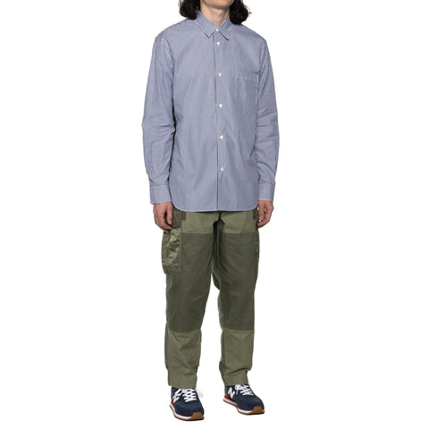 Comme des Garcons HOMME Cotton Stripe x Polyester Lawn Camo Shirt Navy/White, Shirts