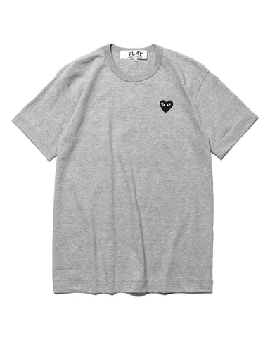 Comme des Garcons PLAY Cotton Jersey Black Emblem Tee Gray (T076), T-Shirts