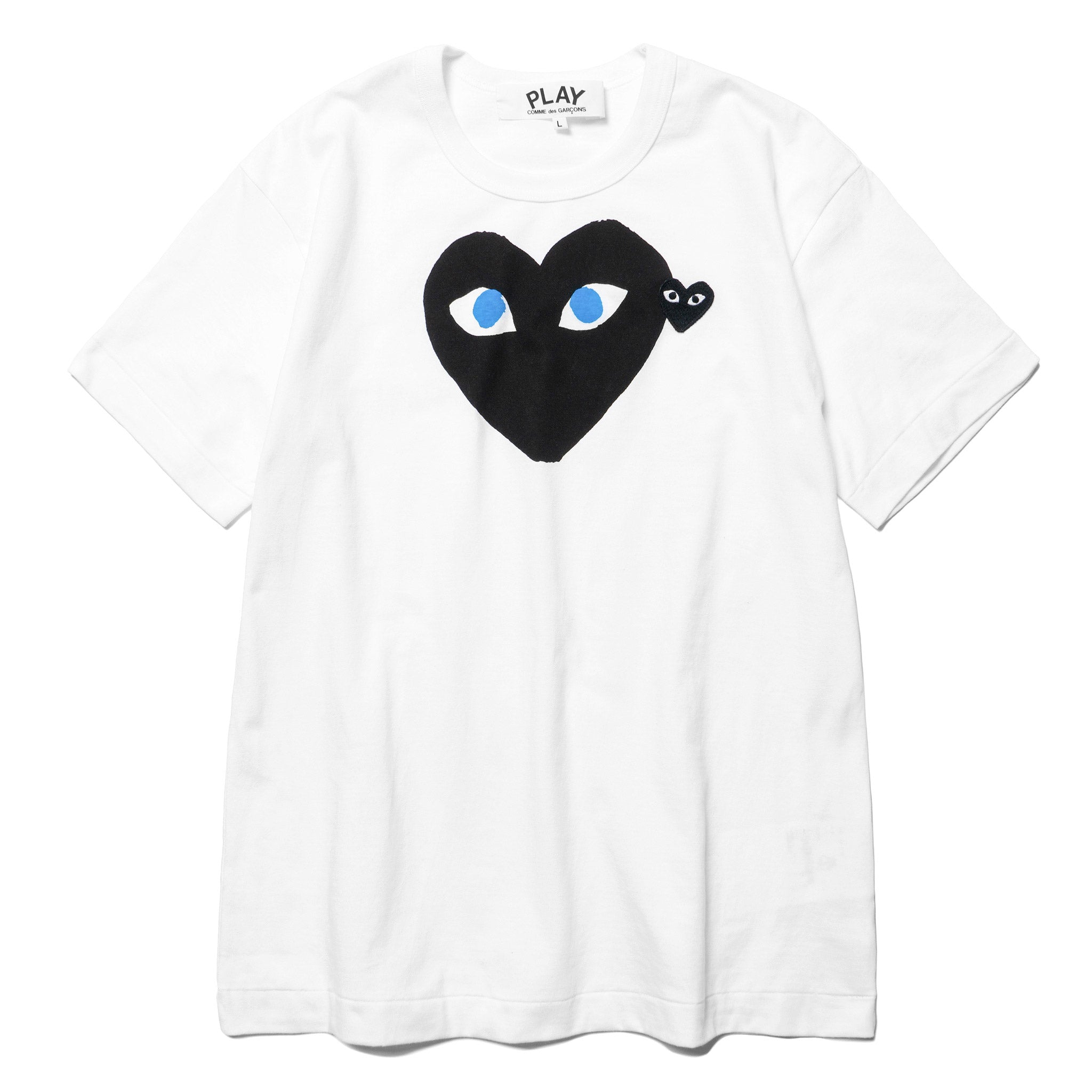 92ff3d82b384 HAVEN-Comme-Des-Garcons-PLAY-Print-Blue-Eye-Black-Heart-Black-Embem-Tee- T008 -WHITE-1.jpg v 1542900318