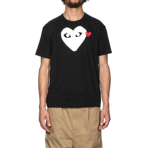 Comme des Garcons PLAY Cotton Jersey Print White Heart Red Emblem Tee Black (T116), T-Shirts