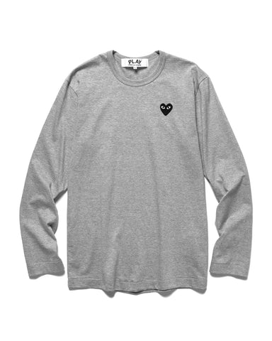 Comme des Garcons PLAY Cotton Jersey L/S Black Heart Tee Gray (T122), T-Shirts