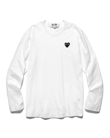 Comme des Garcons PLAY Cotton Jersey L/S Black Heart Tee White (T120), T-Shirts