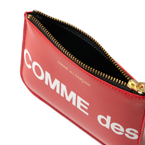 Comme des Garcons WALLET Big Logo Group Zip Pouch Red, Accessories