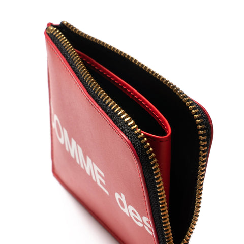 Comme des Garcons WALLET Big Logo Half Zip Wallet Red, Accessories