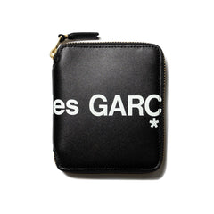 Comme Des Garcons Wallet Big Logo Small Full Zip Wallet Black, Wallets