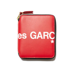 Comme Des Garcons Wallet Big Logo Small Full Zip Wallet Red, Wallets