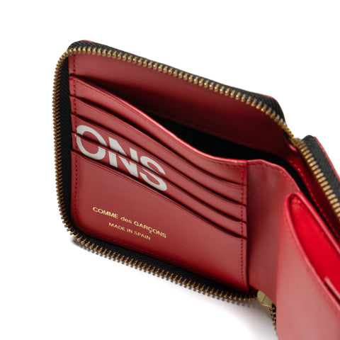 Comme des Garcons WALLET Big Logo Full Zip Wallet Red, Accessories