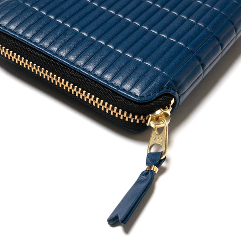 Comme des Garcons WALLET Brick Line Small Full Zip Wallet Blue, Wallets