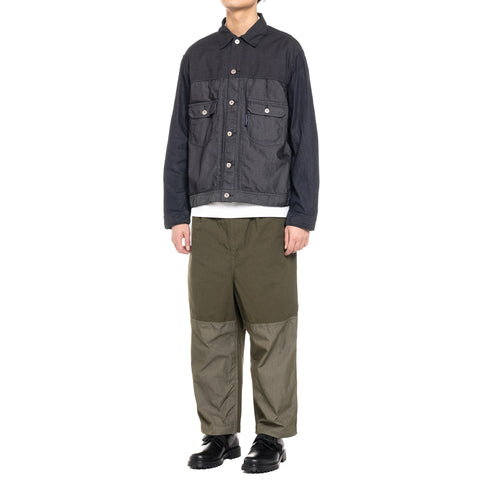 Comme des Garcons HOMME Cotton Twill x Multi Fabric Mix Garment Dyed Jacket Navy Mix, Outerwear
