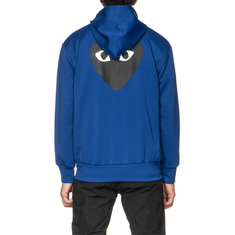Comme des Garcons PLAY Black Heart Front and Back Zip Up Hoodie Blue (T254), Sweaters