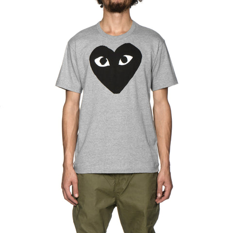 Comme des Garcons PLAY Cotton Jersey Print Black Heart Tee Gray (T084), T-Shirts
