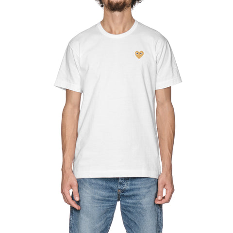 Comme des Garcons PLAY Gold Emblem Tee White (T216), T-Shirts