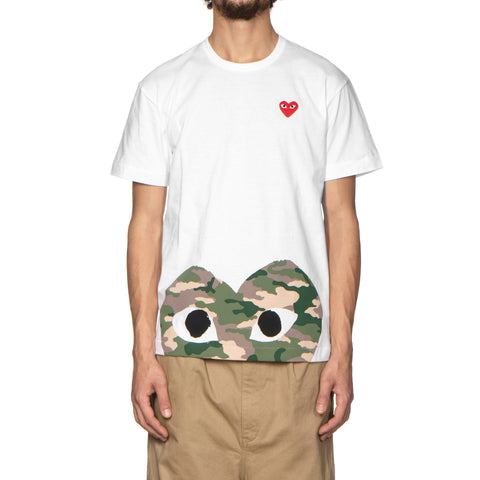 Comme des Garcons PLAY Red Emblem Bottom Camouflage Heart Tee White (T244), T-Shirts