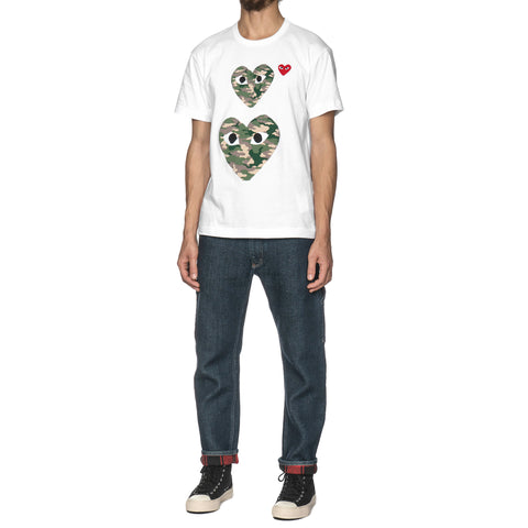 Comme des Garcons PLAY Red Emblem Double Camouflage Heart Tee White (T246), T-Shirts