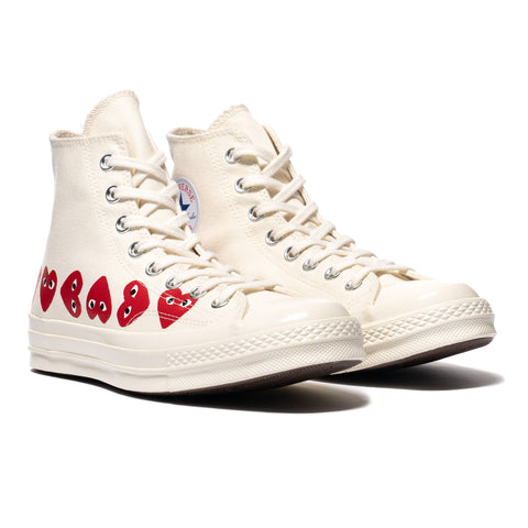 Comme des Garcons PLAY x Converse Chuck 70 Multi Heart High Egret, Footwear