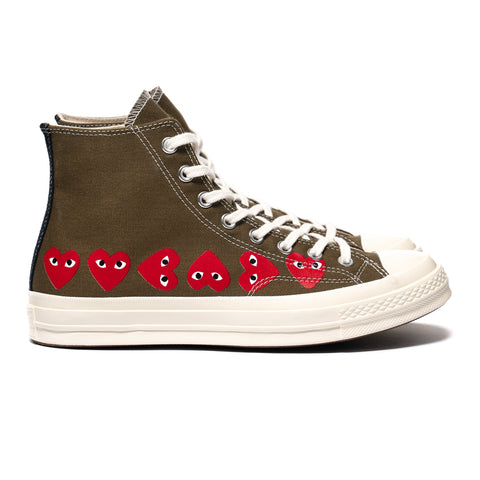 Comme des Garcons PLAY x Converse Chuck 70 Multi Heart High Fir Green, Footwear