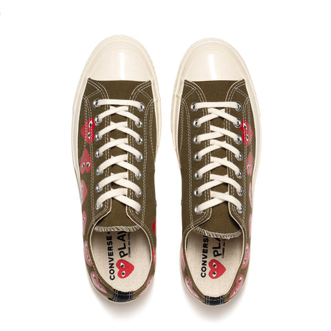 Comme des Garcons PLAY x Converse Chuck 70 Multi Heart Low Fir Green, Footwear
