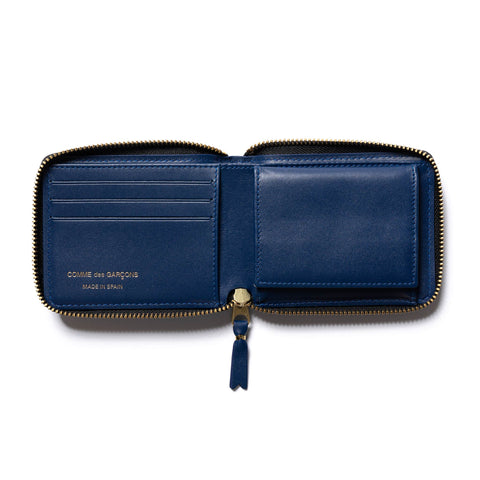 Comme des Garcons WALLET Brick Line Small Full Zip Wallet Blue, Accessories