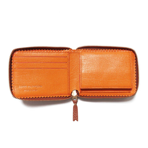 Comme des Garcons WALLET Colour Inside Small Full Zip Wallet Brown/Orange, Accessories
