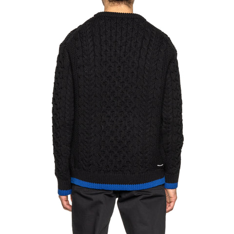 Uniform Experiment Cotton Cable Crewneck Knit Black, Knits