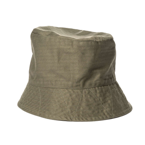Engineered Garments Cotton Herringbone Twill Bucket Hat Olive, Headwear