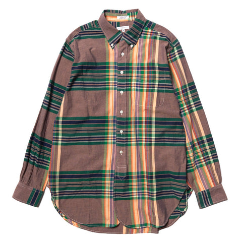 Engineered Garments 19th Century BD Shirt Big Madras Plaid Orange/Green/Navy, Tops