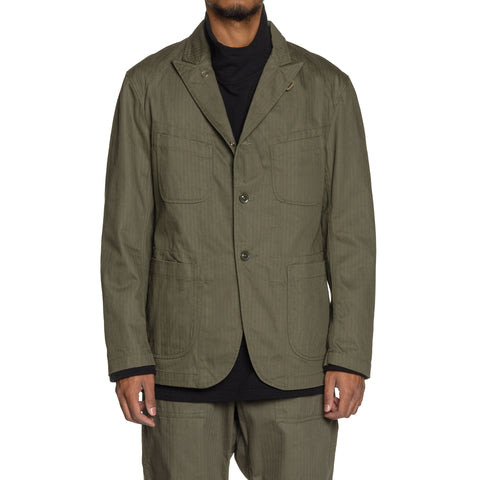 Engineered Garments Cotton Herringbone Twill Bedford Jacket Olive, Outerwear