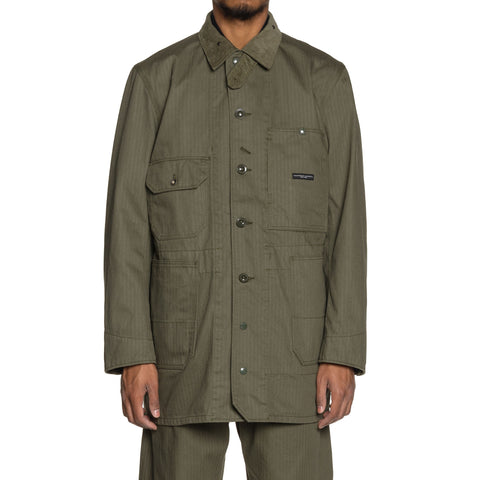 Engineered Garments Cotton Herringbone Twill Long Logger Jacket Olive, Outerwear