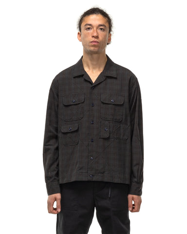 Engineered Garments Cotton Pintuck Small Plaid Bowling Shirt Olive, Shirts