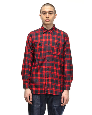 Engineered Garments Cotton Printed Plaid Work Shirt Navy/Red, Shirts