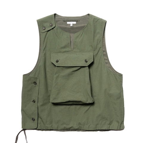Engineered Garments Cotton Ripstop Cover Vest Olive, Outerwear