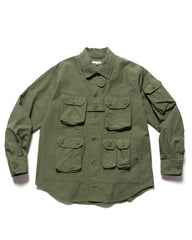 Engineered Garments Cotton Ripstop Explorer Shirt Jacket Olive, Outerwear