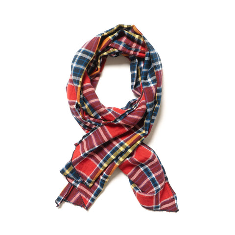 Engineered Garments Cotton Twill Plaid Long Scarf Red/Navy, Accessories