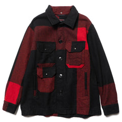Engineered Garments Cruiser Jacket Big Plaid Wool Melton Black