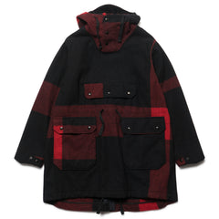 Engineered Garments Over Parka Big Plaid Wool Melton Black