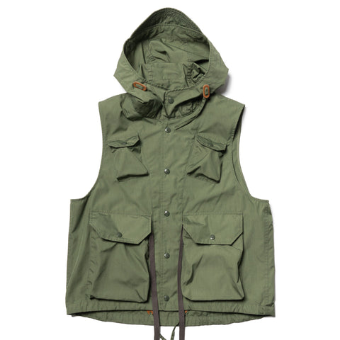 Engineered Garments PC Poplin Field Vest Olive, Outerwear